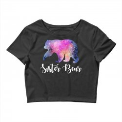 Watercolor Galaxy Bear Family Matching - Sister Bear Crop Top | Artistshot