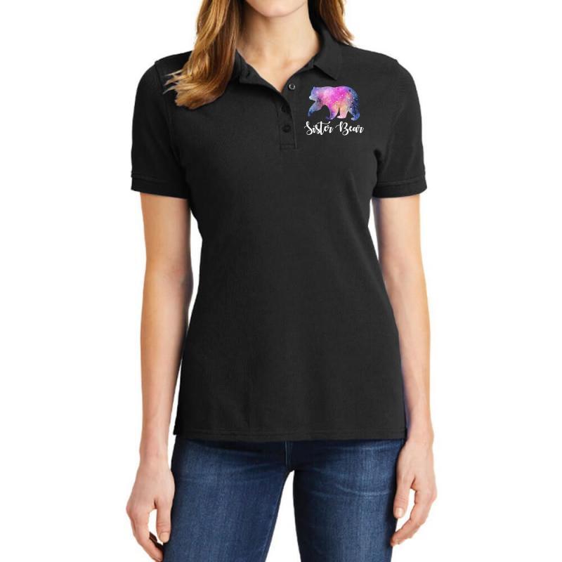 Watercolor Galaxy Bear Family Matching - Sister Bear Ladies Polo Shirt | Artistshot