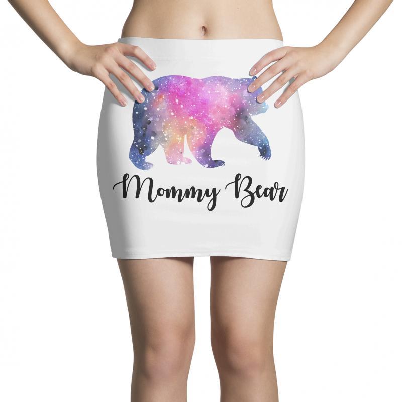 Watercolor Galaxy Bear Family Matching - Mommy Bear Mini Skirts | Artistshot