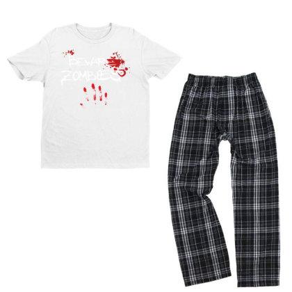 Beware Zombies Youth T-shirt Pajama Set Designed By Estore