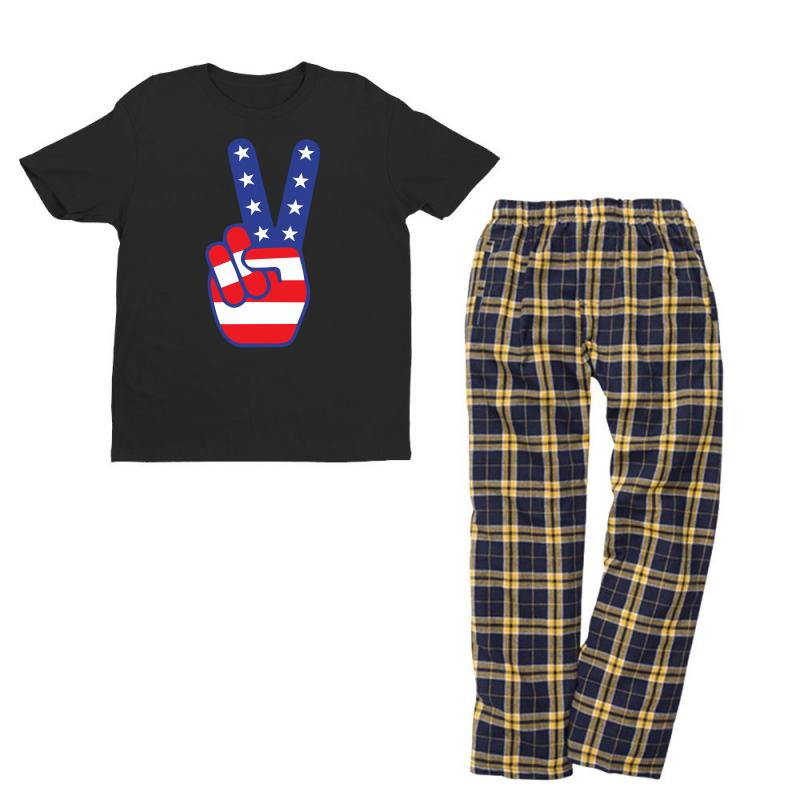 Peace Sign Hand Youth T-shirt Pajama Set   Artistshot