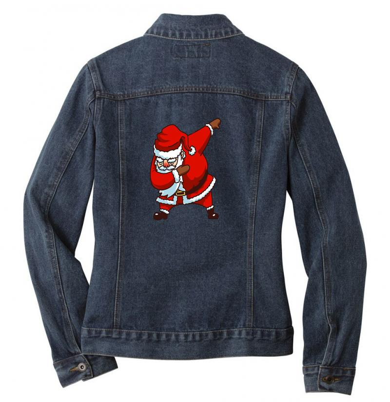 Dabbing Santa Ladies Denim Jacket | Artistshot
