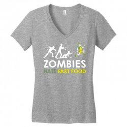 zombies hate fast food Women's V-Neck T-Shirt | Artistshot