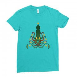 christmas cephalopod Ladies Fitted T-Shirt | Artistshot