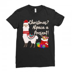christmas alpaca a present Ladies Fitted T-Shirt | Artistshot