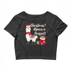 christmas alpaca a present Crop Top | Artistshot