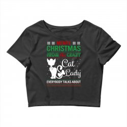 Funny Crazy Cat Lady Christmas Ugly Crop Top | Artistshot