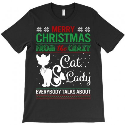 Funny Crazy Cat Lady Christmas Ugly T-shirt Designed By Badaudesign