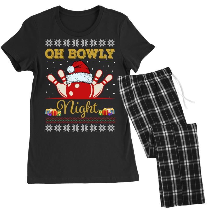 Ugly Christmas Gift For Bowling Player Bowly Lover Oh Bowly Night Ugly Women's Pajamas Set | Artistshot