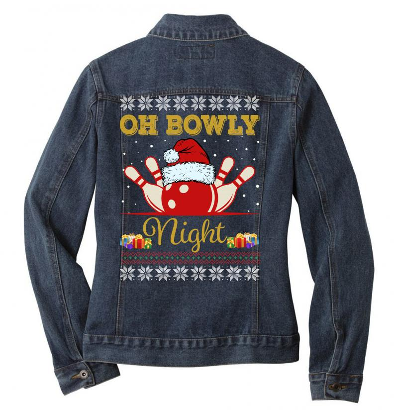 Ugly Christmas Gift For Bowling Player Bowly Lover Oh Bowly Night Ugly Ladies Denim Jacket | Artistshot