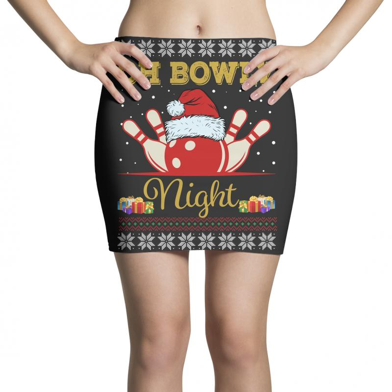 Ugly Christmas Gift For Bowling Player Bowly Lover Oh Bowly Night Ugly Mini Skirts | Artistshot