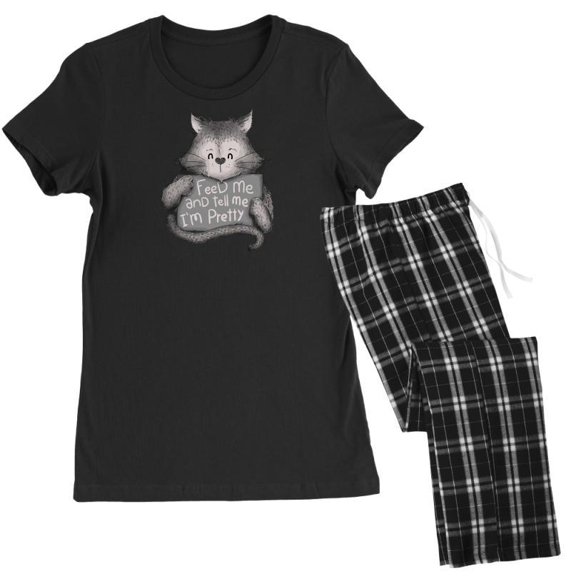 Feed Me And Tell Me I'm Pretty Cat Women's Pajamas Set   Artistshot