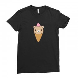 funny brown bear ice cream Ladies Fitted T-Shirt | Artistshot