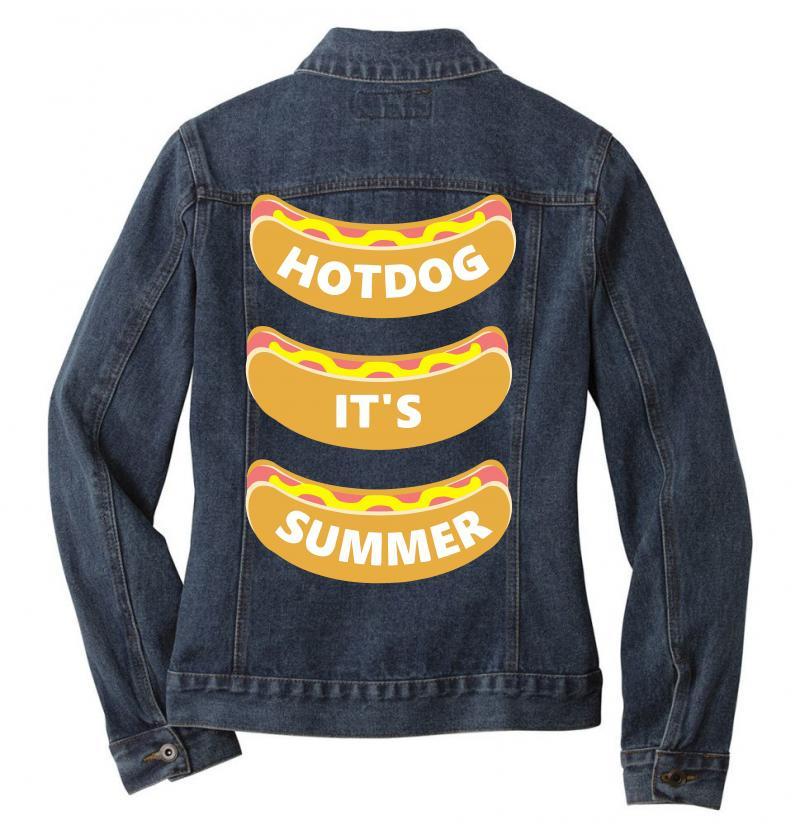 Hot Dog It's Summer Ladies Denim Jacket | Artistshot