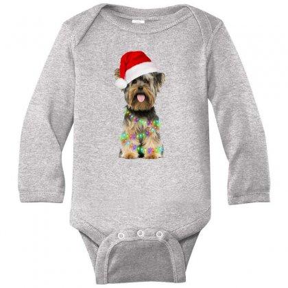 Yorkies Dog Christmas Long Sleeve Baby Bodysuit Designed By Neset