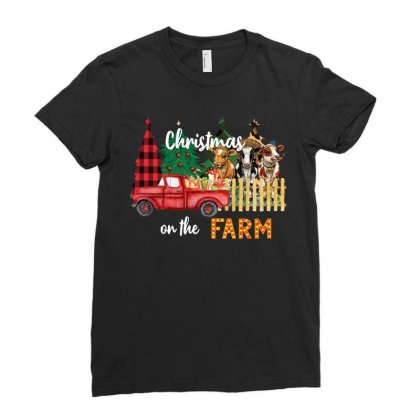 Christmas On The Farm Ladies Fitted T-shirt Designed By Badaudesign