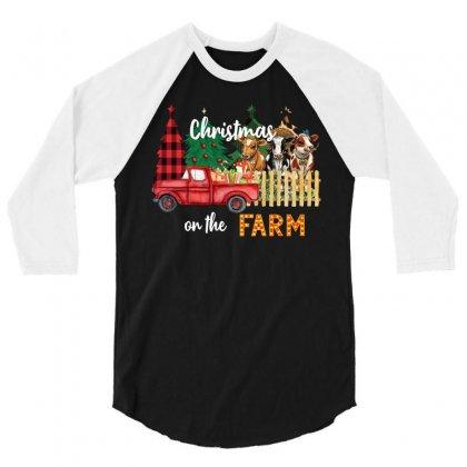 Christmas On The Farm 3/4 Sleeve Shirt Designed By Badaudesign