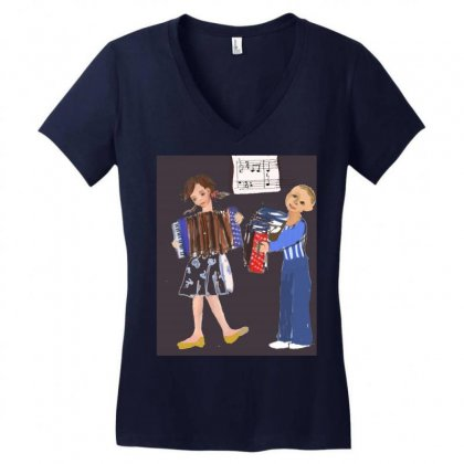 Accordion Players Women's V-neck T-shirt Designed By Scila
