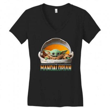 Baby Yoda The Mandalorian Women's V-neck T-shirt Designed By Fun Tees