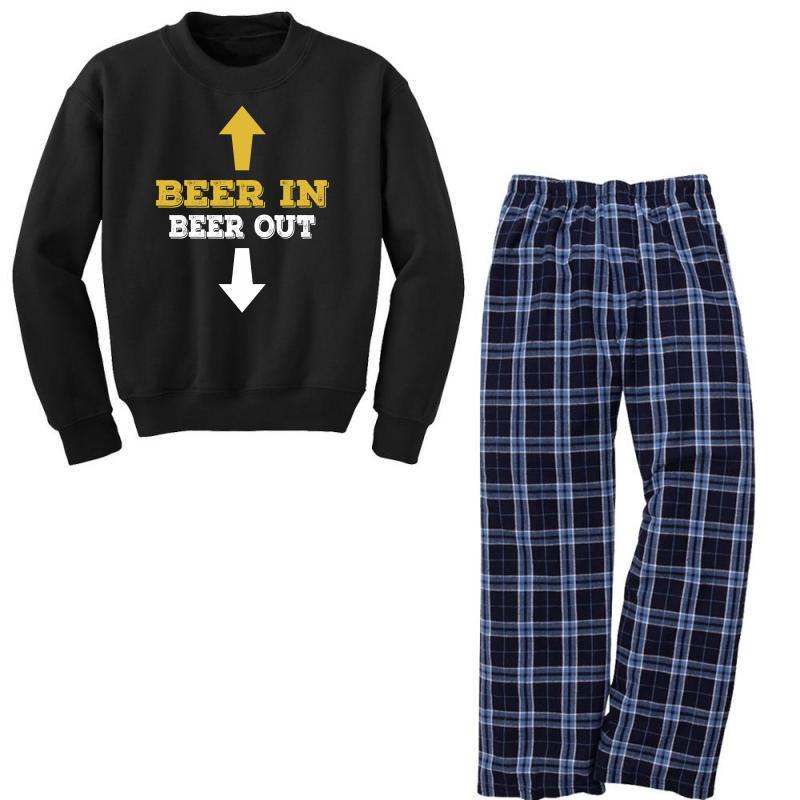 Beer In Beer Out Youth Sweatshirt Pajama Set | Artistshot