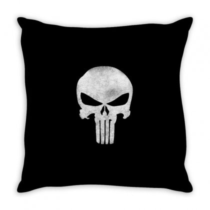 Punisher Skull Vintage Throw Pillow Designed By Dejavu77
