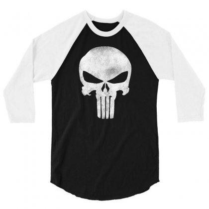 Punisher Skull Vintage 3/4 Sleeve Shirt Designed By Dejavu77