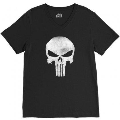 Punisher Skull Vintage V-neck Tee Designed By Dejavu77