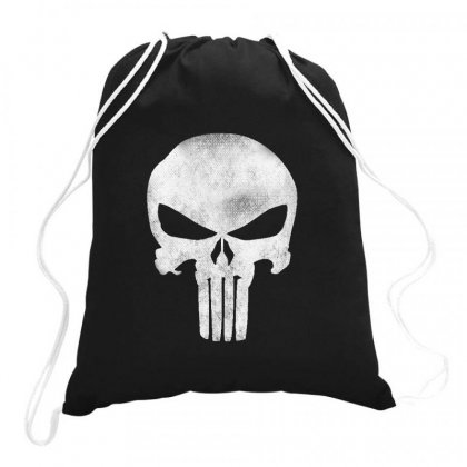 Punisher Skull Vintage Drawstring Bags Designed By Dejavu77