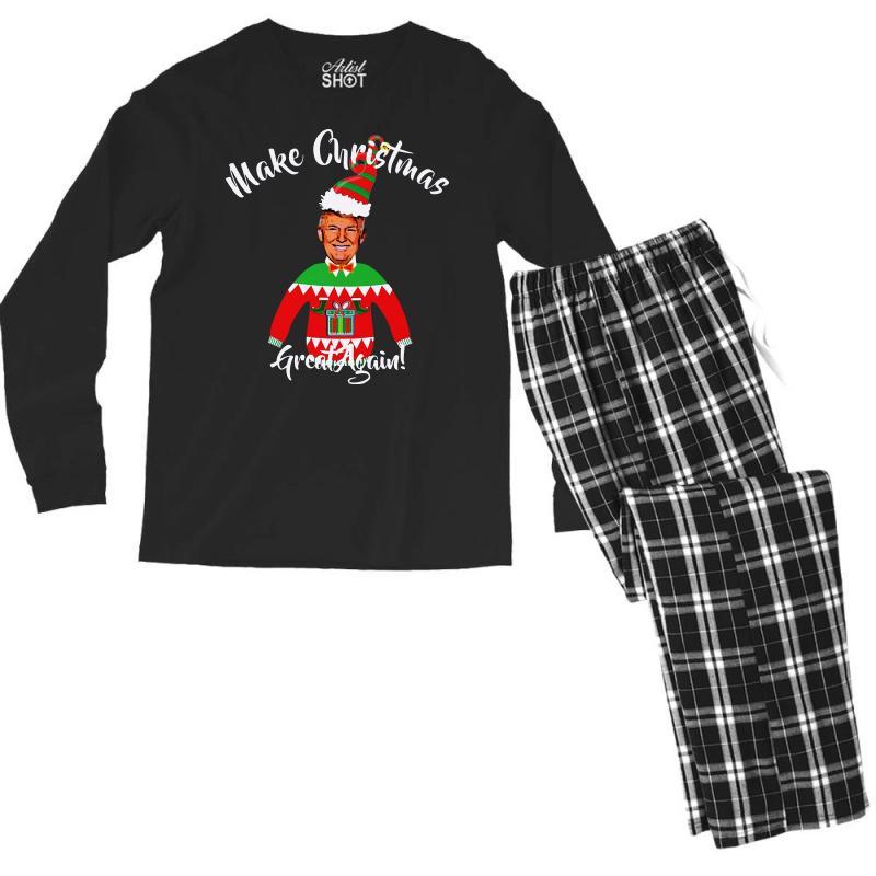 Funny Trump Christmas Ugly Christmas Men's Long Sleeve Pajama Set | Artistshot
