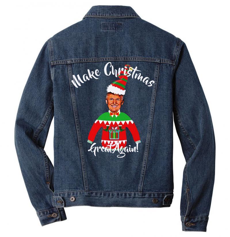 Funny Trump Christmas Ugly Christmas Men Denim Jacket | Artistshot