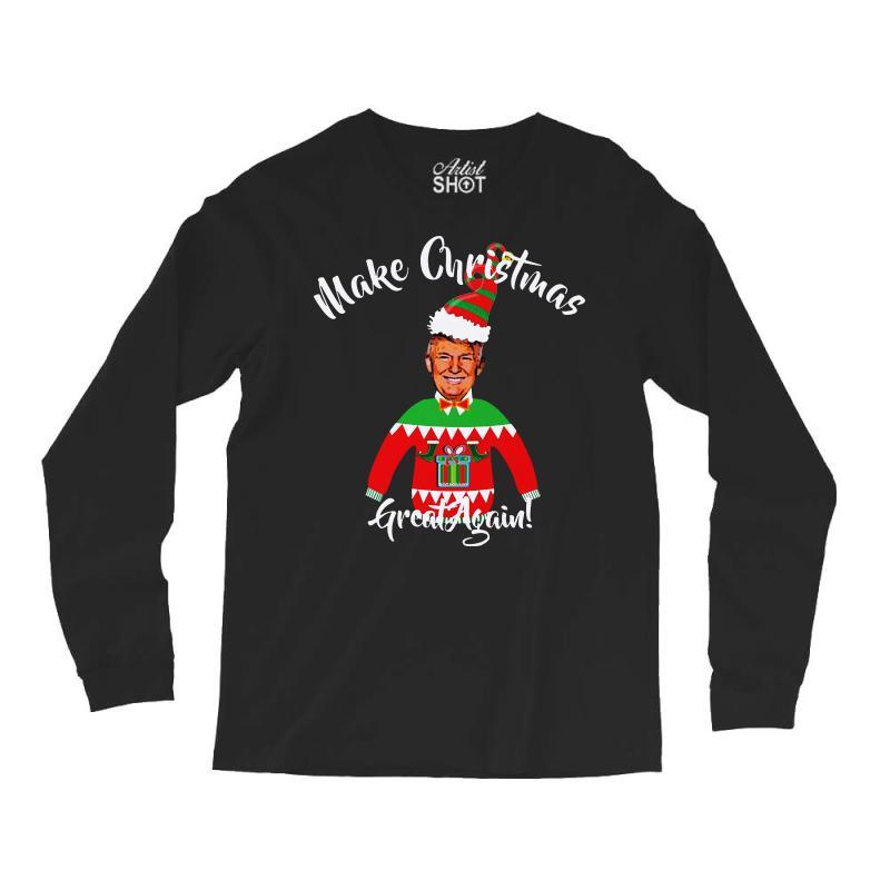 Funny Trump Christmas Ugly Christmas Long Sleeve Shirts   Artistshot