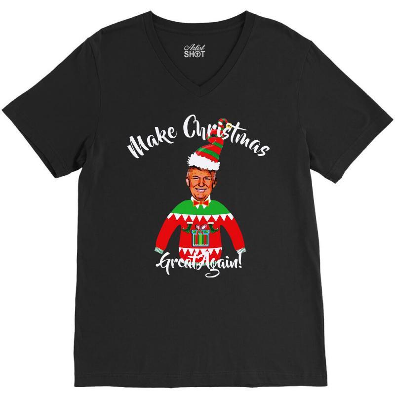 Funny Trump Christmas Ugly Christmas V-neck Tee   Artistshot