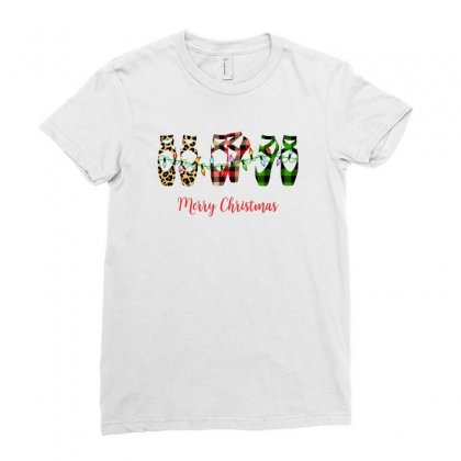 Merry Christmas Ballerina Shoes Plaid Pattern For Light Ladies Fitted T-shirt Designed By Zeynepu