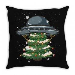 ufo christmas pine tree Throw Pillow | Artistshot