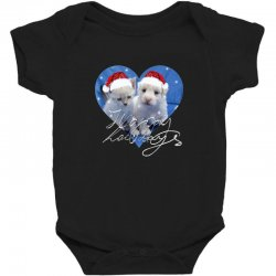 cute christmas puppy and kitten,santa Baby Bodysuit | Artistshot