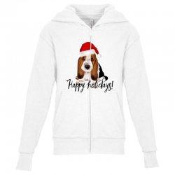 cute santa basset hound dog christmas puppy gift idea Youth Zipper Hoodie | Artistshot