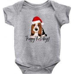 cute santa basset hound dog christmas puppy gift idea Baby Bodysuit | Artistshot