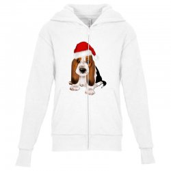 cute santa besset hound dog Youth Zipper Hoodie | Artistshot