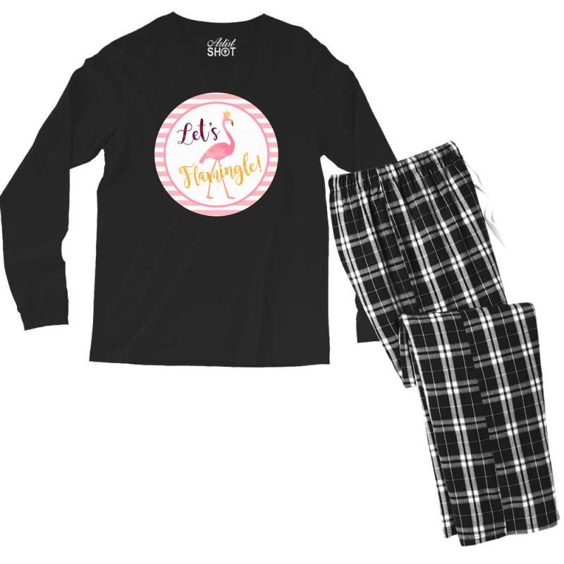 Let's Flamingle Men's Long Sleeve Pajama Set | Artistshot