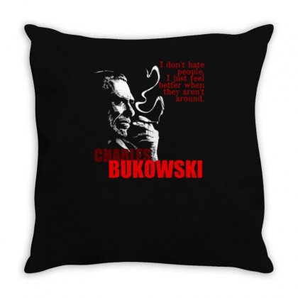 Charles Bukowski Throw Pillow Designed By Lyly