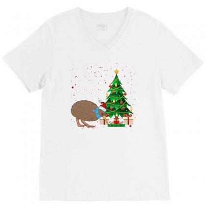 Kiwi Bird Christmas For Light V-neck Tee Designed By Sengul