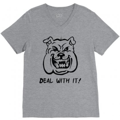 Deal With It Angry Pitbul V-neck Tee Designed By Mdk Art