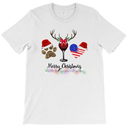Merry Christmas American Flag And Wine For Light T-shirt Designed By Zeynepu