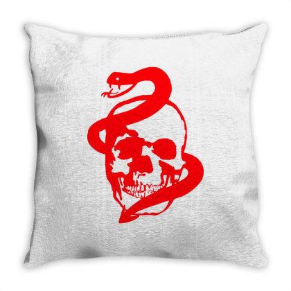 Skull, Snake Throw Pillow Designed By Estore