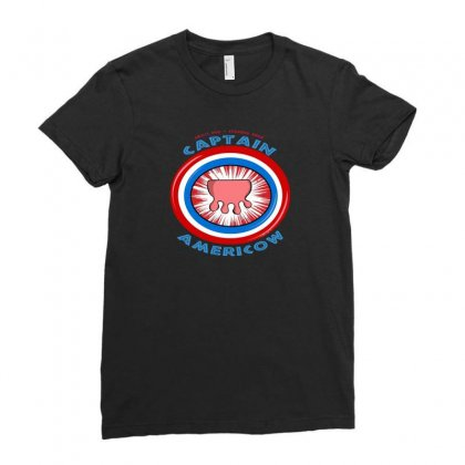 Calling Captain Americow! Ladies Fitted T-shirt Designed By Baron