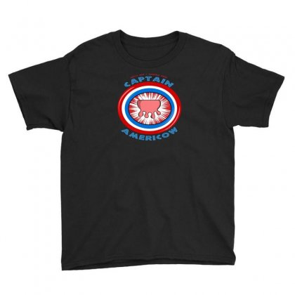 Calling Captain Americow! Youth Tee Designed By Baron