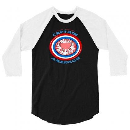 Calling Captain Americow! 3/4 Sleeve Shirt Designed By Baron