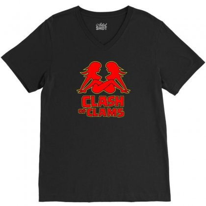 Clash Of Clams V-neck Tee Designed By Baron