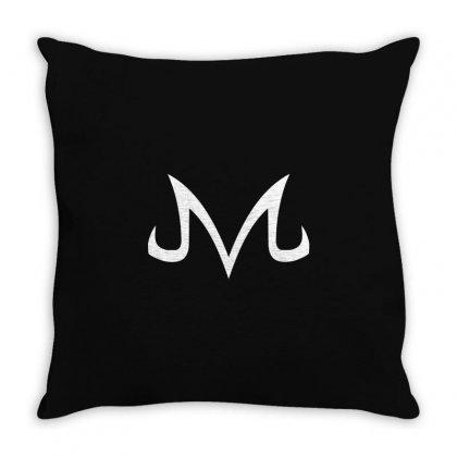 Majin Logo White Throw Pillow Designed By Animestars