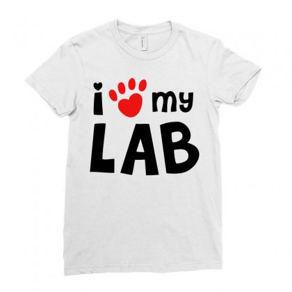 I Love My Lab Labrador Ladies Fitted T-shirt Designed By Mdk Art